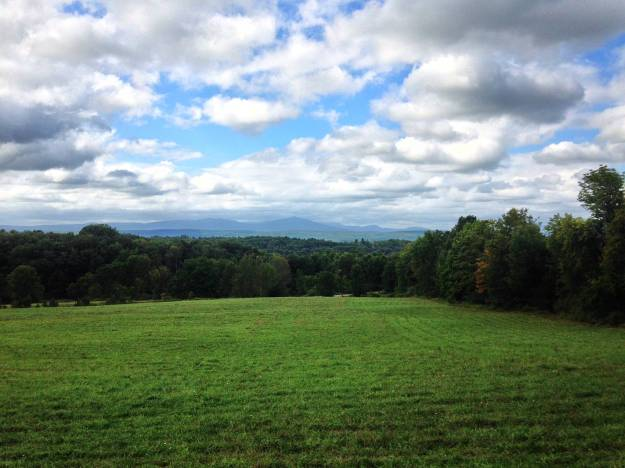 Looking toward the Catskills from Spring Farm, at the base of the Mohonk Road climb.